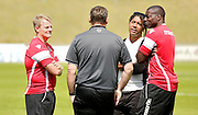 Ken Gillard, Richard Shaw and Darren Powell discuss tactics before the Pre-Season Friendly match between Lewes FC and Crystal Palace at the Dripping Pan, Lewes, United Kingdom on 1 August 2015. Photo by Michael Hulf.