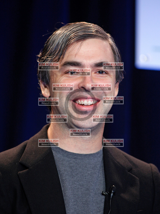 Google co-founder Larry Page laughs during  a Bloom Energy product launch event at the eBay headquarters in San Jose, California. The Bloom Energy fuel cell servers  are being  field tested at eBay, Google and other Silicon Valley firms.