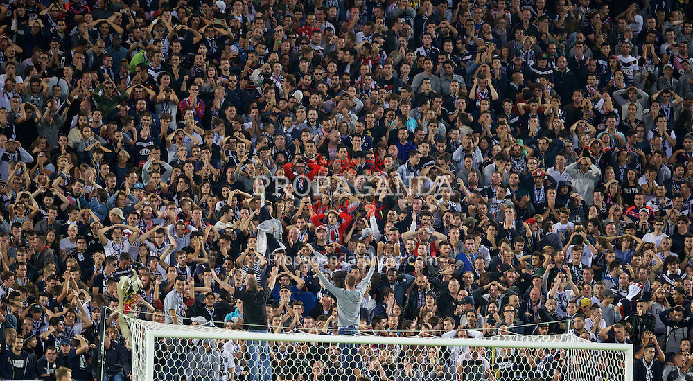 BORDEAUX, FRANCE - Thursday, September 17, 2015: FC Girondins de Bordeaux supporters during the UEFA Europa League Group Stage Group B match against Liverpool at the Nouveau Stade de Bordeaux. (Pic by David Rawcliffe/Propaganda)