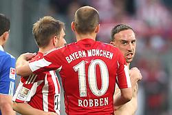 30.04.2011, Allianz Arena, Muenchen, GER, 1.FBL, FC Bayern Muenchen vs FC Schalke 04 , im Bild  Franck Ribery (Bayern #7) verlaesst sauer das spielfeld, Philipp Lahm (Bayern #21) Arjen Robben (Bayern #10) , EXPA Pictures © 2011, PhotoCredit: EXPA/ nph/  Straubmeier       ****** out of GER / SWE / CRO  / BEL ******