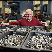 nella fotografia: il titolare Bruno Scanferla ritratto in azienda.. Scanferla, azienda di Avigliana (TO) specializzata nella progettazione e costruzione stampi progressivi e nello stampaggio a freddo. La produzione è di circa 50 milioni di particolari metallici all'anno, destinata principalmente al mercato dell'Automotive e dell'elettroutensile.