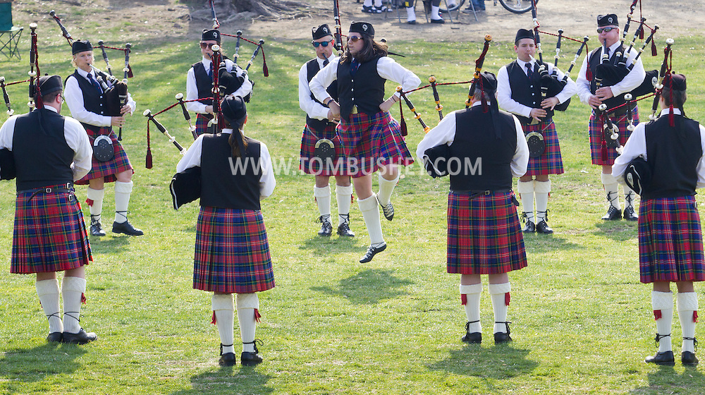West Point, New York - The Rhode Island Highlands perform at the 32nd annual West Point Military Tattoo at Trophy Point at the United States Military Academy  on April 13, 2014.