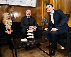 29.01.2019, Bundeskanzleramt, Wien, AUT, Bundesregierung, Bundeskanzler empfängt Schauspieler Schwarzenegger, im Bild Bundeskanzler Sebastian Kurz (ÖVP) und Arnold Schwarzenegger mit seiner Frau Heather Milligan (links) // Austrian Federal Chancellor Sebastian Kurz and Actor Arnold Schwarzenegger with his wife Heather Milligan (left) at federal chancellors office in Vienna, Austria on 2019/01/29 EXPA Pictures © 2019, PhotoCredit: EXPA/ Michael Gruber