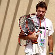 March 18, 2015, Indian Wells, California:<br /> Stan Wawrinka walks through the player area at the Indian Wells Tennis Garden in Indian Wells, California Wednesday, March 18, 2015.<br /> (Photo by Billie Weiss/BNP Paribas Open)