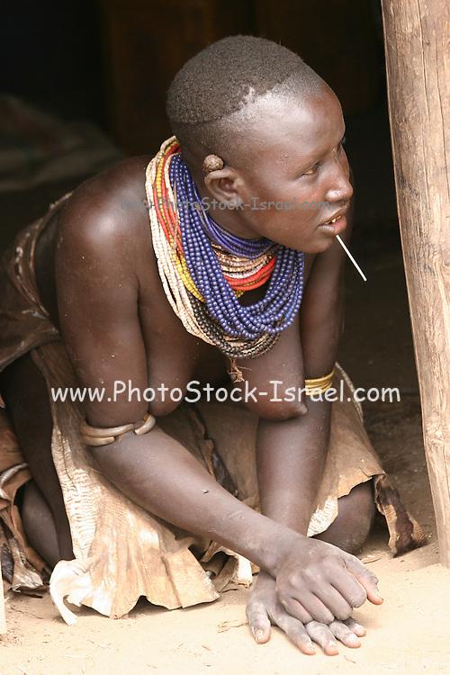 Africa, Ethiopia, Omo Valley, Karo tribesmen woman