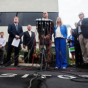 Attornies Marco Gonzalez and Cory Briggs, along with former City Councilwoman Donna Frye, call on Mayor Bob Filner to resign at a press conference outside of Briggs Law Corporation.