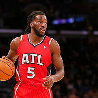 03 November 2013: Atlanta Hawks small forward DeMarre Carroll (5) brings the ball upcourt during the Los Angeles Lakers 105-103 victory over the Atlanta Hawks at the Staples Center, Los Angeles, California, USA.