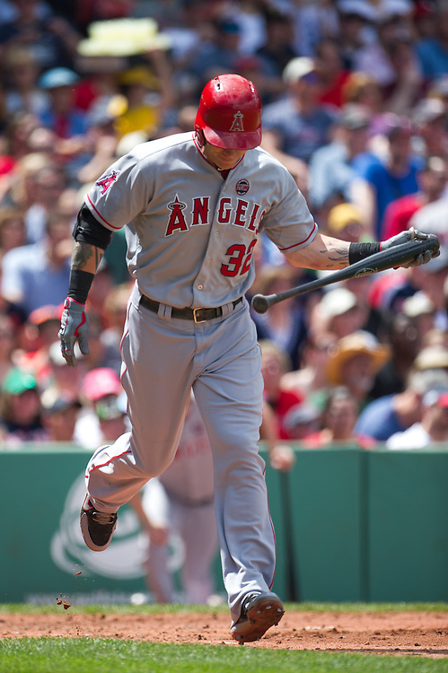 BOSTON, MA - JUNE 09: Josh Hamilton #32 of the Los Angeles Angels runs the bases during the game against the Boston Red Sox at Fenway Park in Boston, Massachusetts on June 9, 2013. (Photo by Rob Tringali) *** Local Caption *** Josh Hamilton
