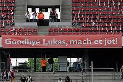05.05.2012, Rhein Energie Stadion, Koeln, GER, 1. FC Koeln vs FC Bayern Muenchen, 34. Spieltag, im Bild Plakat - Goodbye Lukas, mach et jot! Abschied von Lukas PODOLSKI (1.FC Ko¨ln - 10) - Lukas PODOLSKI wird verabschiedet und verlaesst den Verein Richtung Arsenal London // during the German Bundesliga Match, 34th Round between 1. FC Cologne and Bayern Munich at the Rhein Energie Stadium, Cologne, Germany on 2012/05/05. EXPA Pictures © 2012, PhotoCredit: EXPA/ Eibner/ Gerry Schmit..***** ATTENTION - OUT OF GER *****