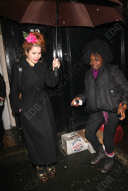01.DECEMBER.2011. LONDON<br /> <br /> PALOMA FAITH ATTENDS THE RICHIE CULVER AND SHOVON AND HUNTER - NEW ARTISTS PRIVATE VIEW AT THE MAGGS GALLERY IN LONDON<br /> <br /> BYLINE: EDBIMAGEARCHIVE.COM<br /> <br /> *THIS IMAGE IS STRICTLY FOR UK NEWSPAPERS AND MAGAZINES ONLY*<br /> *FOR WORLD WIDE SALES AND WEB USE PLEASE CONTACT EDBIMAGEARCHIVE - 0208 954 5968*