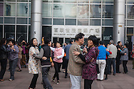China, Shanghai. Nanjing road east, Street life, People dancing in the street
