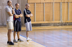 Coach Jure Zdovc, assistant coach Goran Ostojic and Physiotherapist Miha Perko at first practice session of KK Union Olimpija in new season 2010/2011 on August 23, 2010, in Arena Tivoli, Ljubljana, Slovenia.  (Photo by Vid Ponikvar / Sportida)