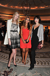 Left to right, JADE PARFITT, SHEEVA MOSHIRI and JASMINE GUINNESS at Fashion For The Brave held at The Dorchester Hotel, Park Lane, London on 20th September 2012.