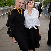 11.05. 2017.                                                 <br /> Over 20 leading Irish and international fashion media and influencers converged on Limerick for 24 hours on, Thursday, 11th May for a showcase of Limerick's fashion industry, culminating with Limerick School of Art & Design, LIT, presenting the LSAD 360° Fashion Show, sponsored by AIB.<br /> Pictured at the event were, Anne Melinn, LSAD and Aisling Farinella. Picture: Alan Place