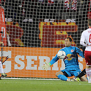 Luis Robles, Red Bulls, makes a save during the New York Red Bulls V D.C. United Major League Soccer, Eastern Conference Semi Final 2nd Leg match at Red Bull Arena, Harrison. New Jersey. USA. 8th November 2012. Photo Tim Clayton