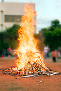 A blazing bonfire lit to Celebrate the Jewish holiday of Lag Baomer