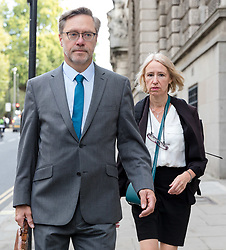 © Licensed to London News Pictures. 10/09/2018. London, UK.  John Letts, and Sally Lane arrive at the Central Criminal Court (Old Bailey) charged with funding terrorism by sending money to their muslim convert son Jack Letts, who was believed to have joined Islamic State in Syria. Lane and Letts are charged with three counts of terror funding by sending £223 on September 2nd 2015, £1,000 on December 31st 2015 and £500 on January 4th 2016.  Photo credit: Vickie Flores/LNP