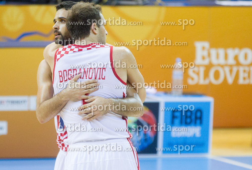 Krunoslav Simon #11 of Croatia and Bojan Bogdanovic #7 of Croatia celebrate after winning during basketball match between National teams of Croatia and Poland in Round 1 at Day 4 of Eurobasket 2013 on September 7, 2013 in Arena Zlatorog, Celje, Slovenia. (Photo by Vid Ponikvar / Sportida.com)