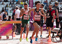 Athletics - 2017 IAAF London World Athletics Championships - Day Three, Morning Session<br /> <br /> 3000m Steeplechase Men - Round 1 (Heat 2)<br />  <br /> Hironori Tsuetaki (Japan) comes through the water jump at the London Stadium <br /> <br /> COLORSPORT/DANIEL BEARHAM