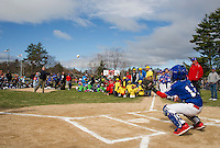 Andrew Hosmer NH Senate throws out the first pitch to Rotary catcher Ryan Hebert during Opening Day ceremonies for Laconia Little League at Colby Field Saturday morning.  (Karen Bobotas/for the Laconia Daily Sun)