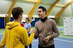 Second placed Aljaz Jeran and Gregor Krusic at trophy ceremony after final match during Slovenian National Tennis Championship 2019, on December 21, 2019 in Medvode, Slovenia. Photo by Vid Ponikvar/ Sportida