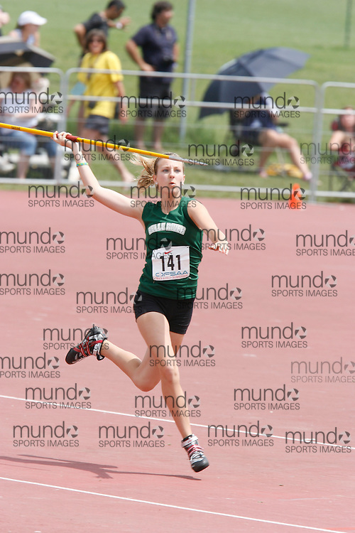 (London, Ontario}---04 June 2010) Victoria Smith of Belle River - Belle River competing in the midget girls javelin at the 2010 OFSAA Ontario High School Track and Field Championships. Photograph copyright Dave Chidley / Mundo Sport Images, 2010.