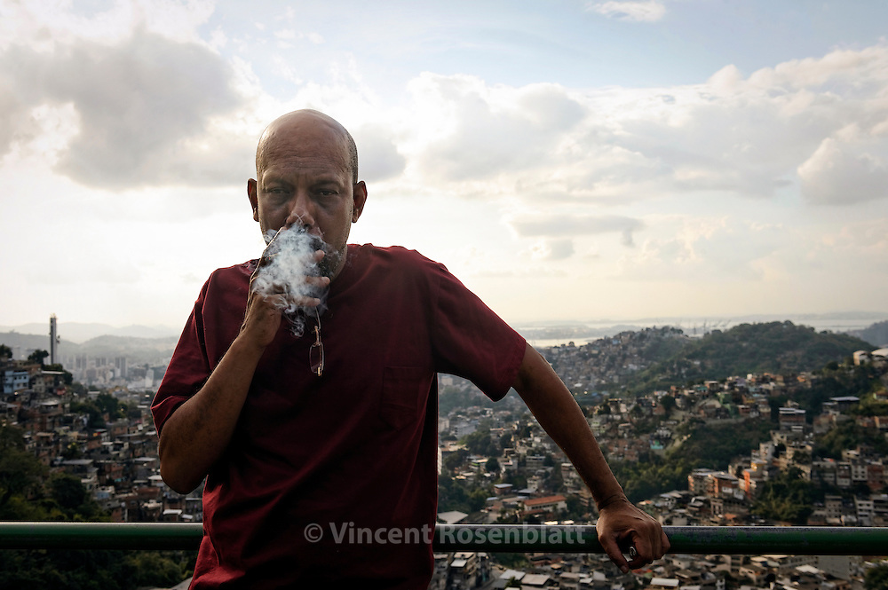 "Paulo Lins, Brazilian writer of 'City of God"" and 'Since Samba is Samba"". Here on the top of Santa Teresa district, wherefrom all favelas and places where the Samba is born in Zona Norte can be seen.."