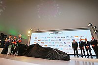 (L to R): Sergio Perez (MEX) Sahara Force India F1 and Nico Hulkenberg (GER) Sahara Force India F1.<br /> Sahara Force India F1 Team Livery Reveal, Soumaya Museum, Mexico City, Mexico. Wednesday 21st January 2015.