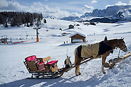 A horsedrawn sleigh waiting for passengers at the Alpe di Suisi ski resort in the Dolomites, Italy
