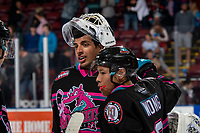 KELOWNA, BC - SEPTEMBER 21:  Roman Basran #30 and Trevor Wong #8 of the Kelowna Rockets celebrate the overtime game winning goal against the Spokane Chiefs at Prospera Place on September 21, 2019 in Kelowna, Canada. (Photo by Marissa Baecker/Shoot the Breeze)