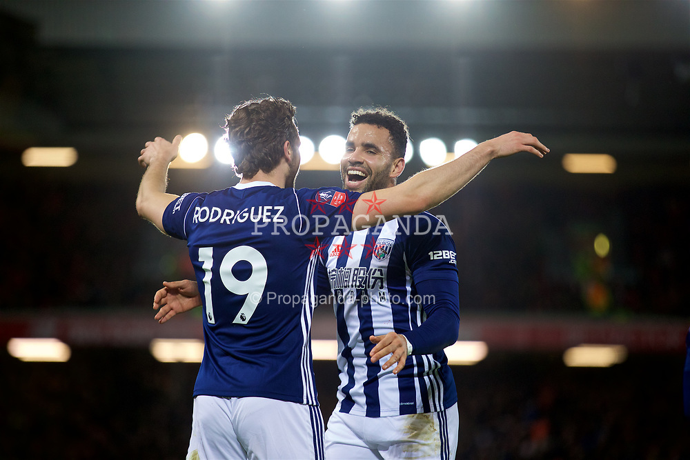 LIVERPOOL, ENGLAND - Sunday, January 14, 2018: West Bromwich Albion's Jay Rodriguez celebrates scoring the second goal with team-mate Hal Robson-Kanu during the FA Premier League match between Liverpool and Manchester City at Anfield. (Pic by David Rawcliffe/Propaganda)