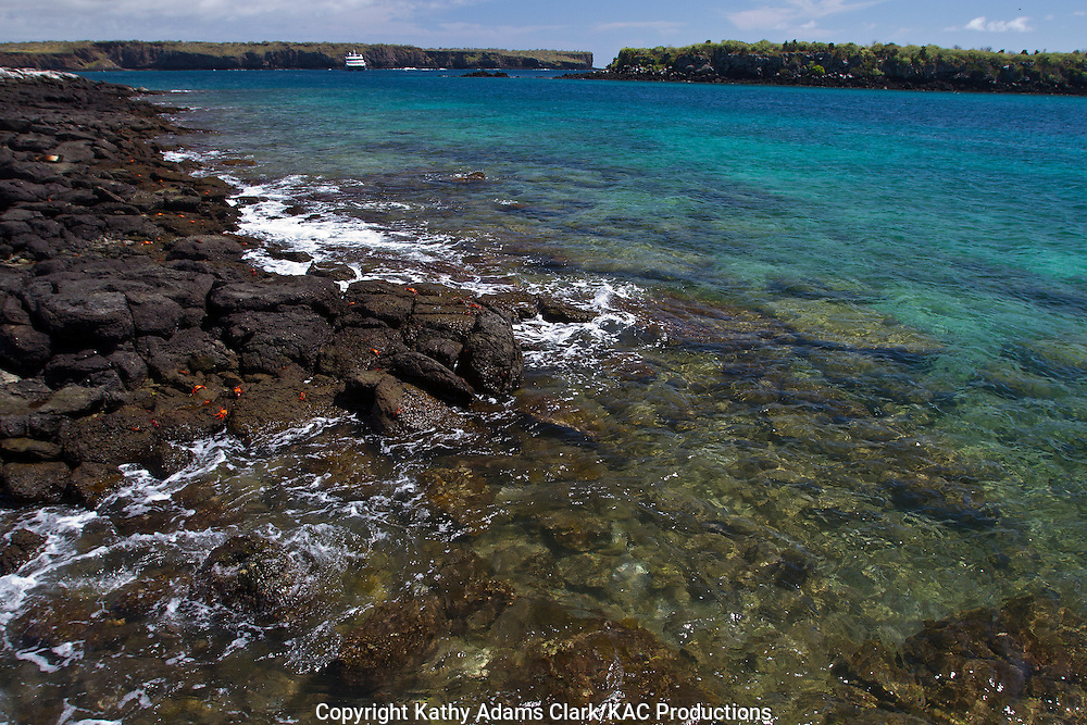Clear water and rocky shoreline around Plaza Island, Galapagos, Ecuador