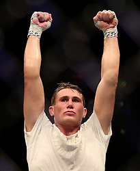Darren Till celebrates after victory against Stephen Thompson during UFC Fight Night at the Liverpool Echo Arena.
