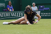 Johanna Konta (GBR) Falls at the Nature Valley International 2019 at Devonshire Park, Eastbourne, United Kingdom on 25th June 2019. Picture by Jonathan Dunville