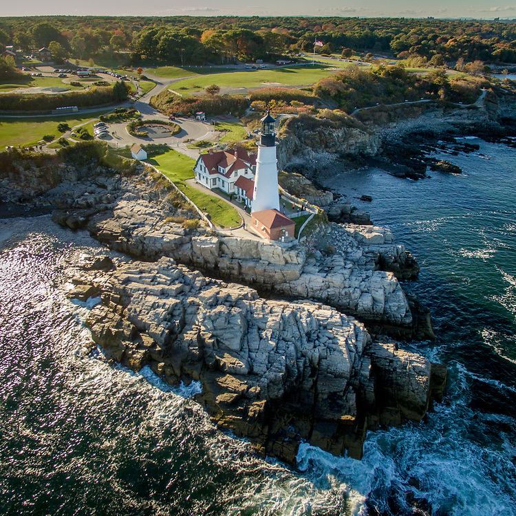 Aerial landscape over Two Lights with Portland Head Lighthouse in Cape Elizabeth, Maine.