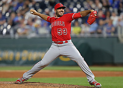 April 12, 2018 - Kansas City, MO, U.S. - KANSAS Kansas City, MO - APRIL 12: Los Angeles Angels relief pitcher Blake Parker (53) pitches in the ninth inning of an MLB game between the Los Angeles Angels of Anaheim and Kansas City Royals on April 12, 2018 at Kauffman Stadium in Kansas City, MO. The Angels won 7-1. (Photo by Scott Winters/Icon Sportswire) (Credit Image: © Scott Winters/Icon SMI via ZUMA Press)