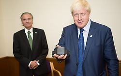 Image ©Licensed to i-Images Picture Agency. 31/07/2014. Croydon, United Kingdom. Mayor of London Boris Johnson and Steve O'Connell<br /> ,British Politician,  launches UK's first compulsory sobriety 'tag' for drinkers for residents in Lambeth, Southwark, Croydon or Sutton. Croydon Magistrates' Court. Picture by Daniel Leal-Olivas / i-Images