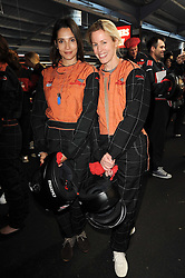 Left to right, ASTRID MUNOZ and SYDNEY INGLE-FINCH at an evening of go-karting hosted by Tag Heuer at Docklands Raceway, 3 Herringham Road, London SE7 on 16th June 2010.