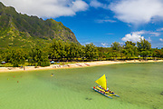 Outrigger canoe, Kaneohe Bay, Oahu, Hawaii