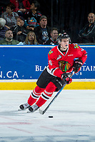 KELOWNA, CANADA - APRIL 14: Henri Jokiharju #16 of the Portland Winterhawks skates with the puck against the Kelowna Rockets on April 14, 2017 at Prospera Place in Kelowna, British Columbia, Canada.  (Photo by Marissa Baecker/Shoot the Breeze)  *** Local Caption ***