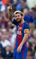 BARCELONA, SPAIN - OCTOBER 15:  Lionel Messi of FC Barcelona celebrates scoring his team's fourth goal during the La Liga match between FC Barcelona and RC Deportivo de La Coruna at Camp Nou stadium on October 15, 2016 in Barcelona, Spain. (Photo by Manuel Queimadelos Alonso/Getty Images)