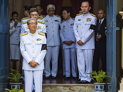 October 14, 2016 - Bangkok, Bangkok, Thailand - Members of the Thai cabinet leave Sahathai Samakom Pavilion at the Grand Palace after paying respects to Bhumibol Adulyadej, the King of Thailand, who died Oct. 13, 2016. He was 88. His death comes after a period of failing health. With the king's death, the world's longest-reigning monarch is Queen Elizabeth II, who ascended to the British throne in 1952. Bhumibol Adulyadej, was born in Cambridge, MA, on 5 December 1927. He was the ninth monarch of Thailand from the Chakri Dynasty and is known as Rama IX. He became King on June 9, 1946 and served as King of Thailand for 70 years, 126 days. He was, at the time of his death, the world's longest-serving head of state and the longest-reigning monarch in Thai history. (Credit Image: © Jack Kurtz via ZUMA Wire)