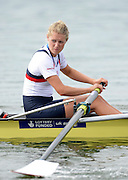 Varese,  ITALY. 2012 FISA European Championships, Lake Varese Regatta Course. ..GBR W2-   Olivia CARNEGIE-BROWN Silver Medalist Women's Pair..11:21:08  Sunday  16/09/2012.....[Mandatory Credit Peter Spurrier:  Intersport Images]  ..2012 European Rowing Championships; .File name; Rowing, European,  2012 010939.jpg.....