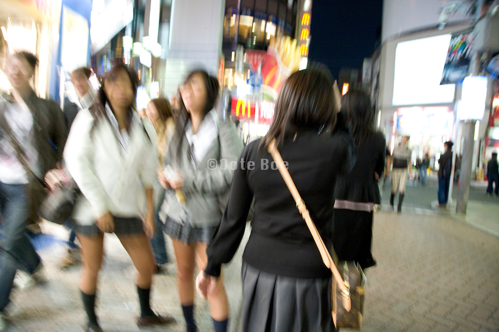 Friday evening meeting up in the Shibuya district of Tokyo Japan