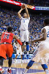 Kentucky forward Skal Labissiere shoots a jumper in the second half. The University of Kentucky hosted Ole Miss, Saturday, Jan. 02, 2016 at Rupp Arena in Lexington.