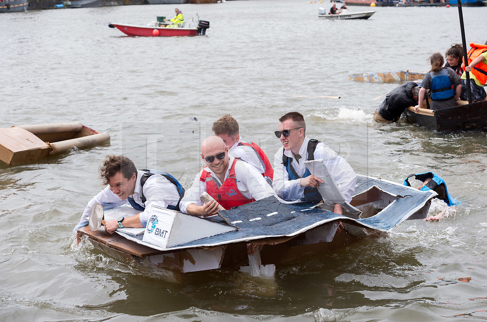 © Licensed to London News Pictures. 20/07/2019; Bristol, UK. Bristol Harbour Festival; the Bristol Cardboard Boat Race, where contestants race each other in boats made of cardboard while trying to stay afloat long enough to complete the course. Bristol Harbour Festival turns 48 this year and 250,000 people attend over the weekend for maritime entertainment, music and dance. Photo credit: Simon Chapman/LNP.