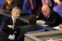 19 DEC 2003, BERLIN/GERMANY:<br /> Joschka Fischer (L), B90/Gruene, Bundesaussenminister, und Peter Struck (R), SPD, Bundesverteidigungsminister, im Gespraech, waehrend der Sondersitzung des Bundestages zur Abstimmung ueber das Reformpaket zu Steuern und Arbeitsmarkt, Plenum, Deutscher Bundestag<br /> IMAGE: 20031219-01-005<br /> KEYWORDS: Gerhard Schröder, Gespräch