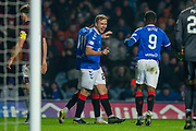 Greg Stewart (#24) of Rangers FC is all smiles after scoring for Rangers during the Ladbrokes Scottish Premiership match between Rangers FC and Heart of Midlothian FC at Ibrox Park, Glasgow, Scotland on 1 December 2019.