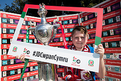 NEWTOWN, WALES - Sunday, May 6, 2018: Supporters with the JD Welsh Cup at half time during the FAW Welsh Cup Final between Aberystwyth Town and Connahs Quay Nomads at Latham Park. (Pic by Paul Greenwood/Propaganda)