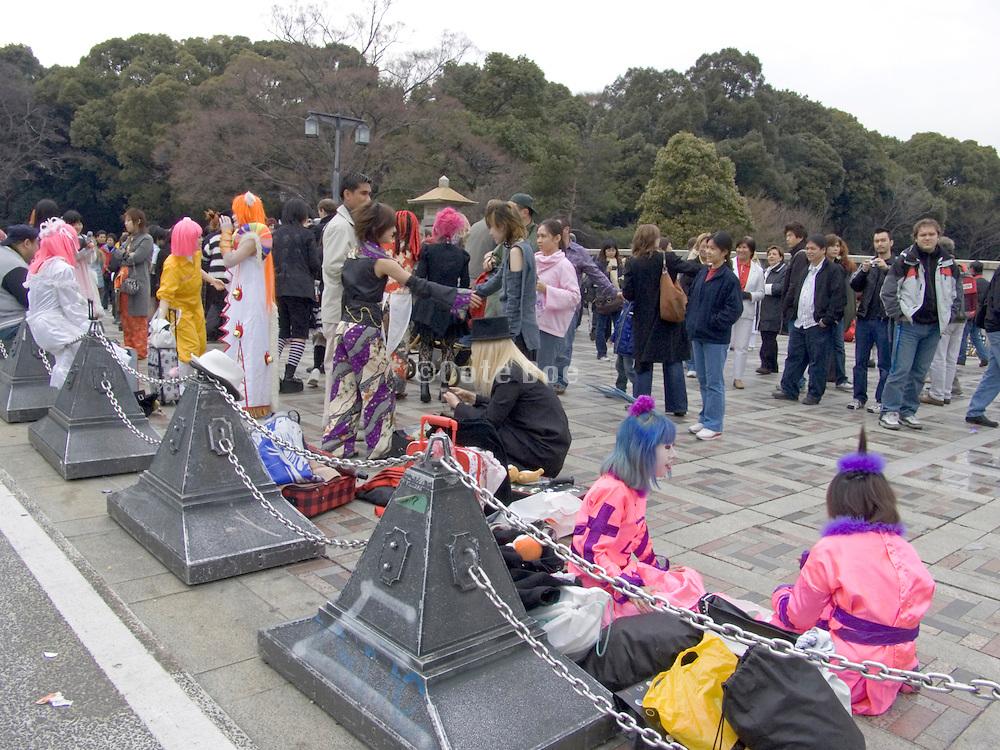 youths dressed up in Yoyogi park Harajuku Tokyo Japan